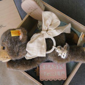 Wunderschön ist das Baby Geschenk Girl mit Silberrassel und Steiff-Bär.