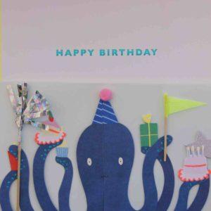 Geburtstagskarte 3D Tintenfisch