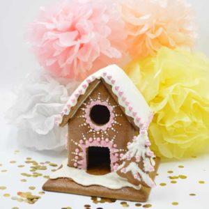 Mit diesem Bauset für ein Lebkuchenhaus können Sie gleich beginnen zu dekorieren.