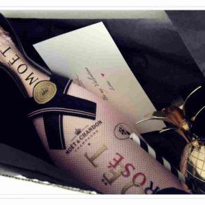 Champagner Moet rosé mit Boule Ananas