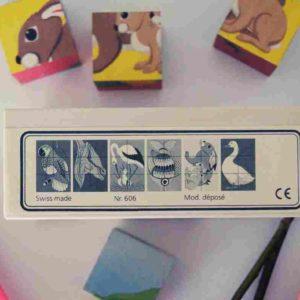 Atelier Fischer Würfel-Puzzle mit 6 Tiermotiven
