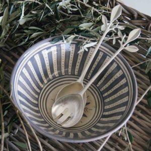 Salatbesteck Leaves silber