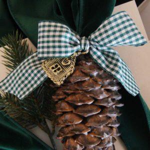 Weihnachtlich und winterlich sind die schönen Deko-Zapfen mit Wachs überzogen und mit Samtmasche und Schleife versehen, werden sie zum wunderschönen Weihnachtsgeschenk à la Liebreiz!