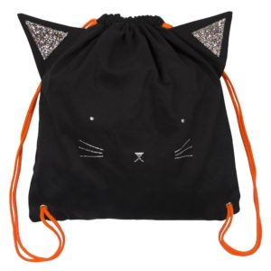 Ein cooler und süsser Katzen-Rucksack aus festem Baumwollstoff und aufgesticktem Katzengesicht. Nicht nur zu Halloween