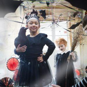 Einzigartiges Halloween-Kostüm für kleine Mädchen. Bestehend aus wunderschönem schwarzen Tüllrock mit funkelnden Spinnennetzen und einer glitzernder Krone. Königin der Nacht. Ab 3 Jahren