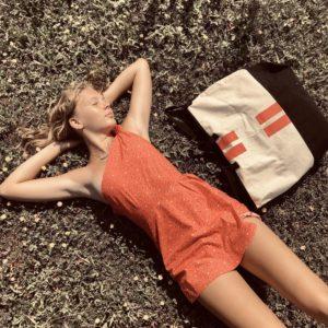 Beach Bag orange stripes Mood 1