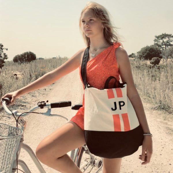 Beach Bag orange stripes Mood Pic